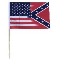 "12""x18"" Stick Flag [Half & Half Confederate/USA]"